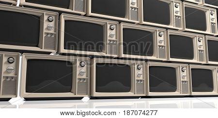 Vintage televisions stack - full background. 3d illustration