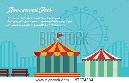 Amusement park background vector flat collection stock