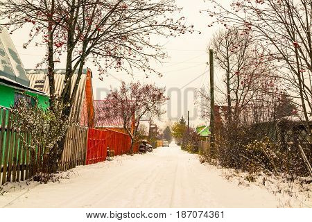 Village In A Winter Day And Snow