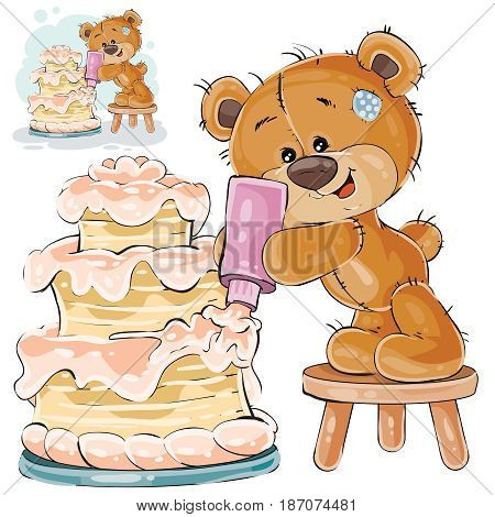 Vector illustration of a brown teddy bear makes a holiday cake. Print, template, design element