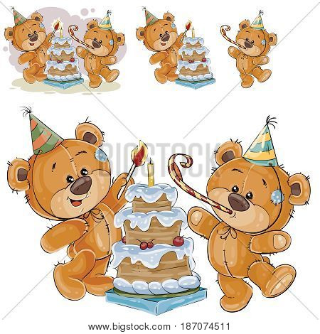 Vector illustration of two brown teddy bears in cardboard hats and with whistles light a candle on a birthday cake. Print, template, design element