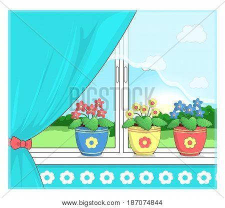 Flowers in pots on the windowsill. Outside the window the sunrise.