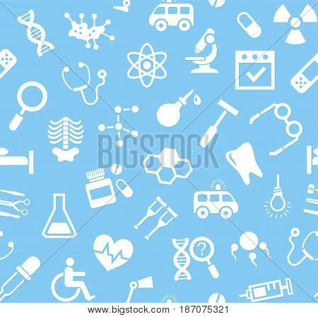 Medicine, blue background, flat, seamless, vector. Medical services specialization. The profession of doctors. Medical instruments. White, flat pictures on a blue field. Vector background.