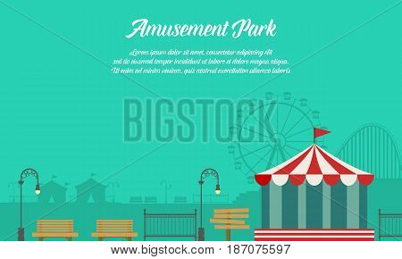 Amusement park background with ornament vector flat