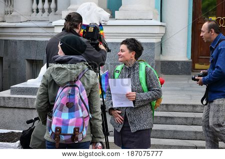 Kharkov, Ukraine - May 17, 2017: The Beginning Of The First Lgbt Action In Kharkov, Which Was Interr