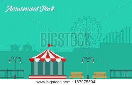 Collection background amusement park scenery vector art