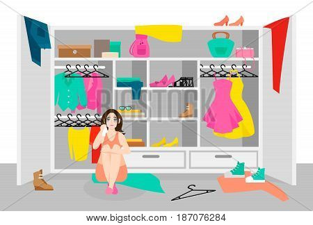 Unhappy woman concept with crying girl sitting near wardrobe with clothes and accessories vector illustration