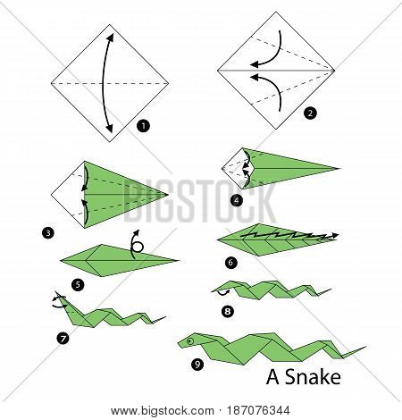 step by step instructions how to make origami snake.
