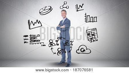 Digital composite of Digital composite image of businessman amidst various icons against gray background