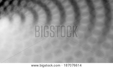 Wide format abstract background with halftone effect, visual illusion of gradient effect. Rhythmic circles. Decorative shapes. Vector EPS10 with transparency. Digitally wallpaper. 16 : 9