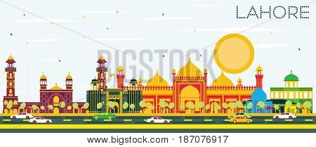 Lahore Skyline with Color Landmarks and Blue Sky. Business Travel and Tourism Concept with Historic Buildings. Image for Presentation Banner Placard and Web.