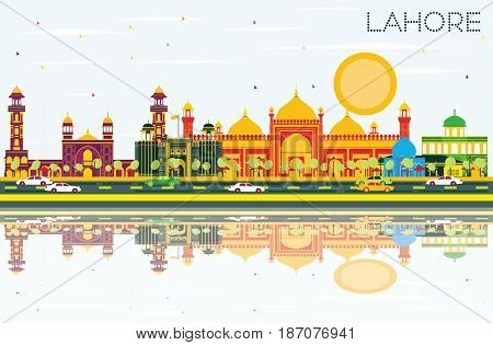 Lahore Skyline with Color Landmarks, Blue Sky and Reflections. Business Travel and Tourism Concept with Historic Buildings. Image for Presentation Banner Placard and Web.