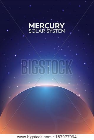 Poster Planet Mercury And Solar System. Space Background.
