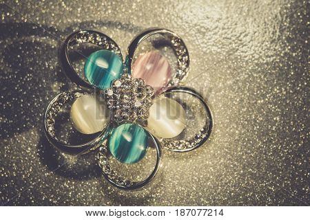 Blue Flower Shaped Brooch Filtered