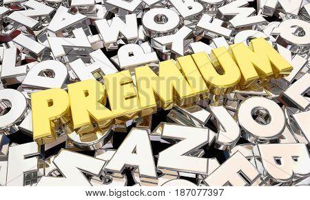 Premium Highest Level Top Product Best Offer Word 3d Illustration
