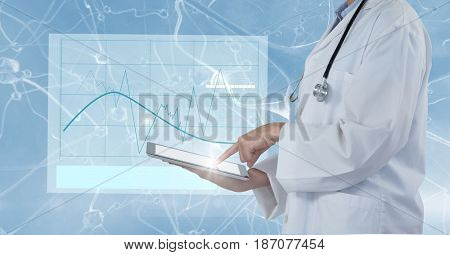Digital composite of Digital composite image of doctor using tablet computer with interface graphics