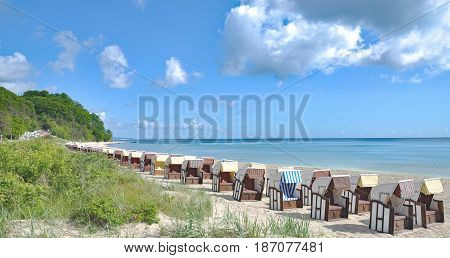 Beach of Sellin on Ruegen at baltic Sea,Mecklenburg-Vorpommern,Germany