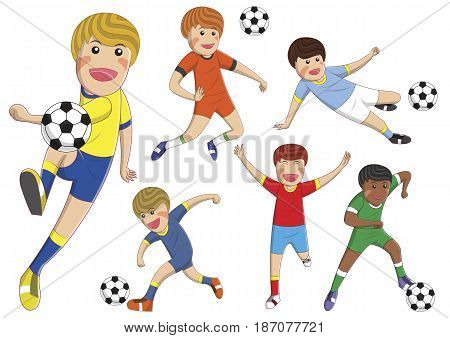 stock vector boys cartoon playing football soccer