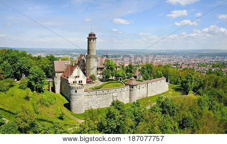 Aerial view on Altenburg Castle - historic hilltop castle near Bamberg Bavaria Germany