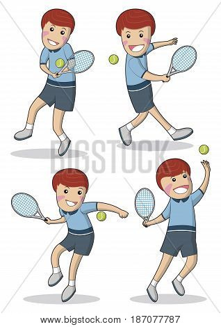 Collection Illustration of men with different positions of playing tennis