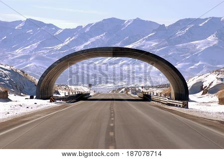 Archway of a wildlife crossing during construction along Highway 93 in Nevada