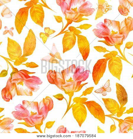A seamless background pattern with hand painted watercolor roses and butterflies, golden toned on white