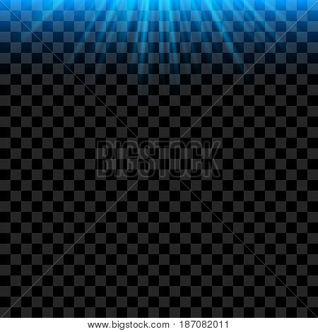 Blue bright Light Rays with realistic Glowing. Vector Ilumination abstract Effect