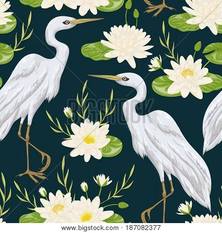 Seamless pattern with heron bird and water lily. Swamp flora and fauna. Vintage hand drawn vector illustration in watercolor style