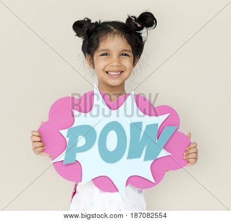 Little GIrl Smiling Happiness Playful Pow Comic Speech Bubble