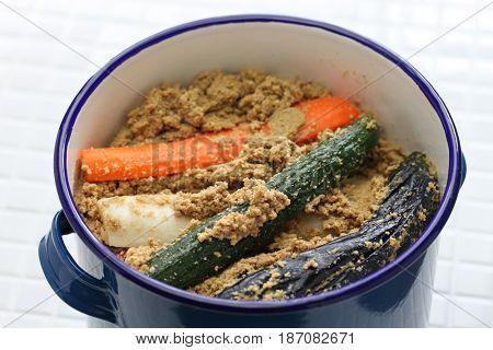 homemade nukazuke, bran pickled vegetables, japanese traditional food