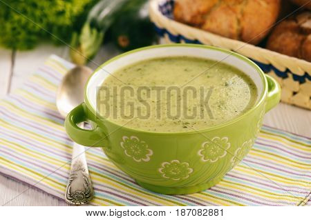 Vegetarian food- homemade zucchini cream soup .