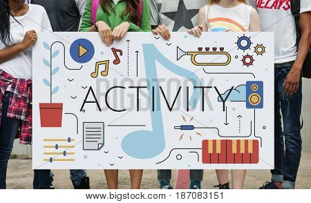 Music Note Leisure Hobby Activity Pastime Word Graphic