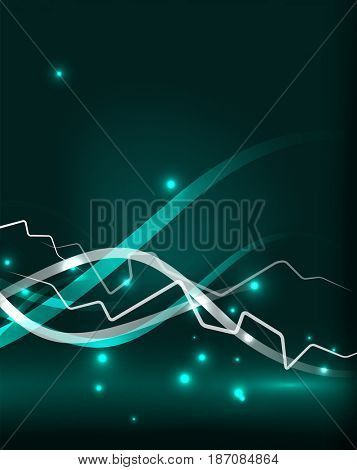 Glowing wavy lines template. Color lightning concept in the dark, energy magic abstract background