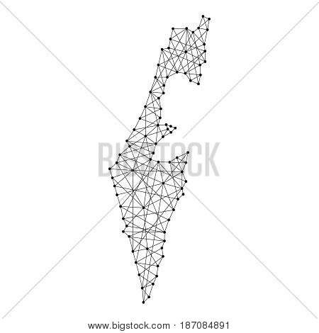 Map of Israel from polygonal black lines and dots of vector illustration