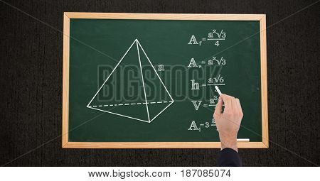 Digital composite of Cropped image of hand writing match formulas on chalkboard