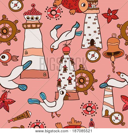 Seamless baby background with sea, Lighthouse and gull. Fish childish Pattern