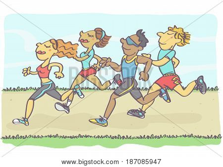 Vector cartoon illustration with group of people jogging