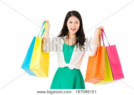 Lady Showing Many Shopping Paperbags