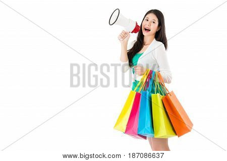 Happy Asian Woman Holding Festival Gifts