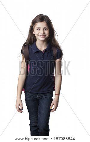 Smiling Caucasian girl wearing backpack
