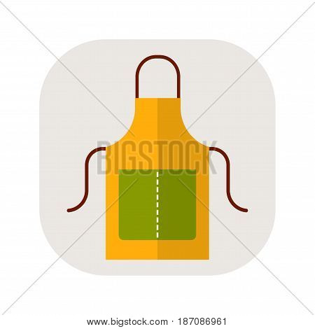 Apron, working and protective clothing for the kitchen and garden. Flat icon. Object for design