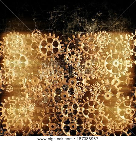 Gold gears and cogs macro. 3D rendering