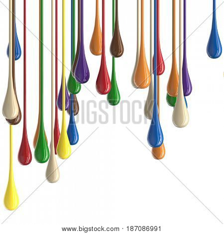3D multicolor colorful glossy paint drop blobs isolated on white. 3D rendering