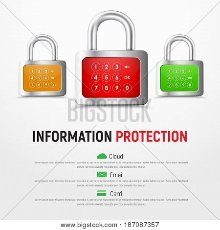 Design A Square White Web Banner With Padlocks With Pin Code