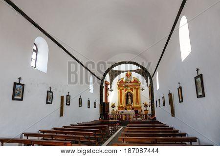 Lanzarote, Mancha Blanca, 30 March, 2017: Interior Of The Church Of  Nuestra Senora De Los Volcanes