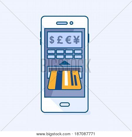 Vector illustration of money cash balance check in ATM cash machine smartphone mobile on credit card through phone. Wallet banking eCommerce business finance concept icon pictogram