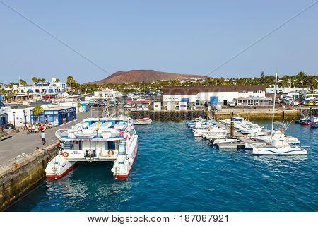 Playa Blanca, Lanzarote, 01 April, 2017: Boats And Yachts In Rubicon Marina, Lanzarote, Canary Islan