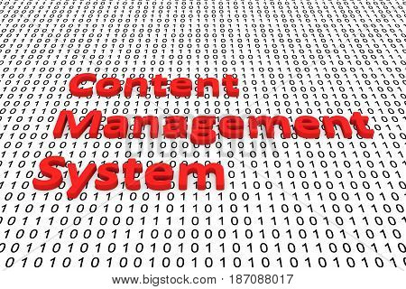 Content management system in the form of binary code, 3D illustration