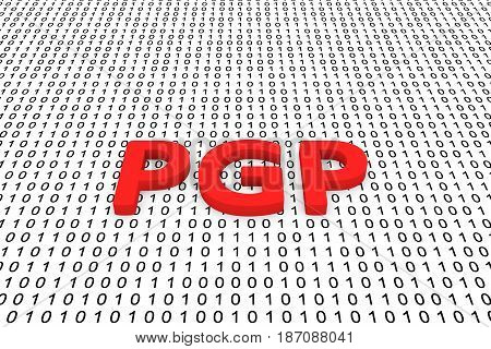 PGP in the form of binary code, 3D illustration
