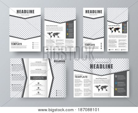 Set  Brochure, Flyer  Banner With An Arrow And A Place For A Photo